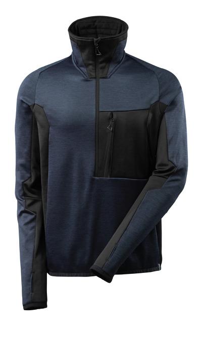 MASCOT® ADVANCED - Schwarzblau/Schwarz - Fleecepullover mit kurzem Reißverschluss, hoher Kragen, moderne Passform