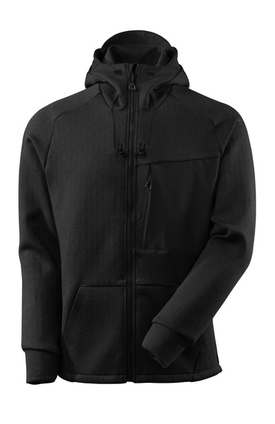 MASCOT® ADVANCED - Schwarz-meliert/Schwarz - Kapuzensweatshirt mit Reißverschluss, moderne Passform