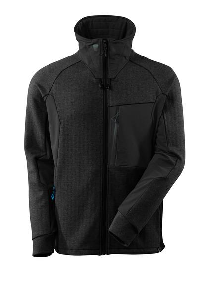 MASCOT® ADVANCED - Schwarz-meliert/Schwarz - Sweatshirt mit Reißverschluss, Stehkragen, moderne Passform