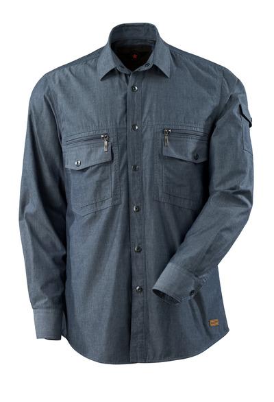 MASCOT® CROSSOVER - Gewaschener dunkelblauer Denim - Hemd Chambray mit Netzfutter, moderne Passform
