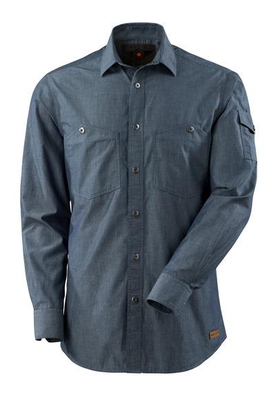 MASCOT® CROSSOVER - Gewaschener dunkelblauer Denim - Hemd, Chambray, moderne Passform