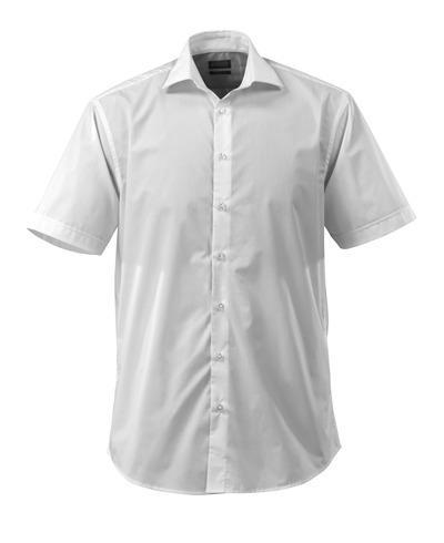 MASCOT® CROSSOVER - Weiß - Hemd Poplin, großzügige Passform, kurze Ärmel.