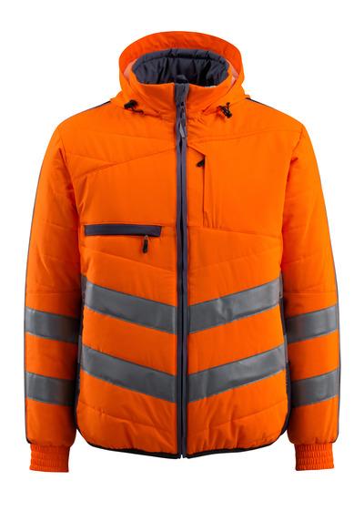 MASCOT® Dartford - hi-vis Orange/Schwarzblau - Jacke mit Futter und Kapuze, wasserabweisend, Klasse 2