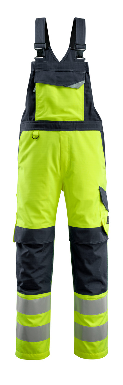 MASCOT® Davos - hi-vis Gelb/Schwarzblau - Latzhose mit Knietaschen, Multischutz, Klasse 2
