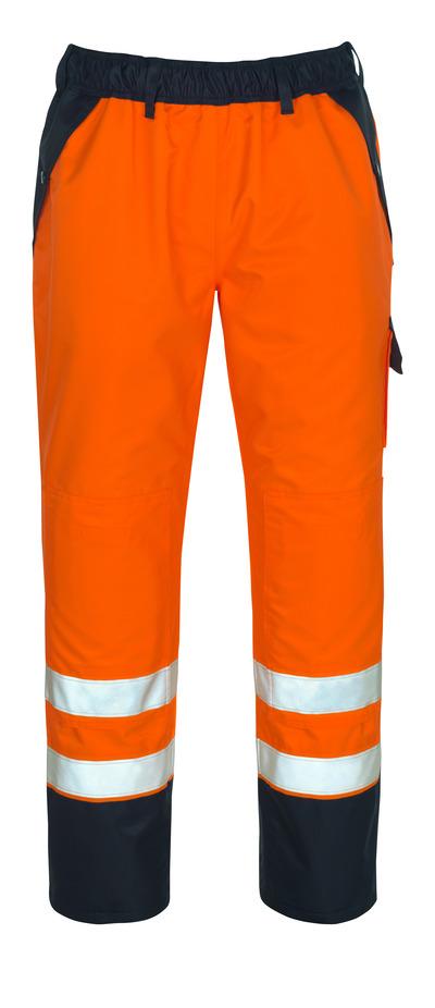 MASCOT® Linz - hi-vis Orange/Marine - Überziehhose mit Knietaschen, wasserdichtes MASCOTEX®, Klasse 2