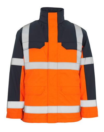 MASCOT® Lungern - hi-vis Orange/Marine* - Parka mit herausnehmbarem Steppfutter, wasserdicht, Multischutz, Klasse 3/2