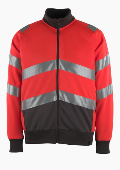 MASCOT® Maia - hi-vis Rot/Dunkelanthrazit* - Sweatshirt mit Reißverschluss, moderne Passform, Klasse 2