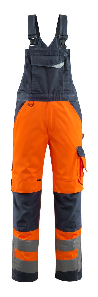 MASCOT® Newcastle - hi-vis Orange/Schwarzblau - Latzhose mit Knietaschen, Klasse 2
