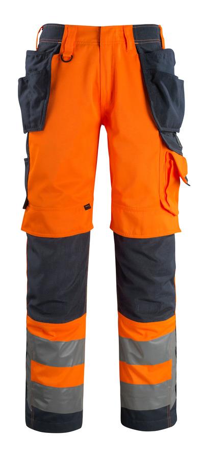 MASCOT® Wigan - hi-vis Orange/Schwarzblau - Hose mit CORDURA® Knie- und Hängetaschen, hohe Strapazierfähigkeit, Klasse 2